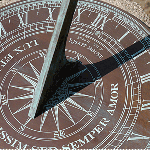 photo of a patinated sundial